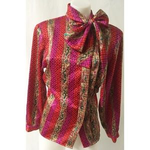 Red & Gold Vintage Bow Top Size 10